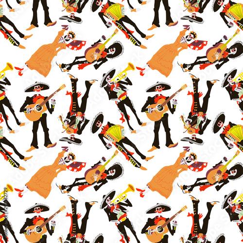 Dia de los muertos seamless pattern Canvas Print
