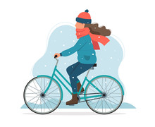 Girl Riding A Bike In Winter. Cute Vector Illustration In Flat Style