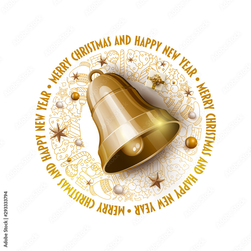 Fototapety, obrazy: Golden Christmas Bell Christmas and New Year greeting card design.
