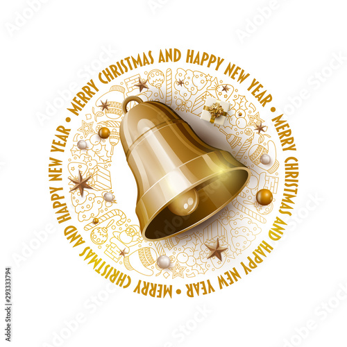 Golden Christmas Bell Christmas and New Year greeting card design.