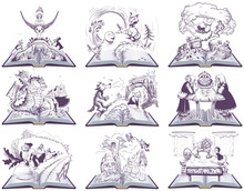 Fairy Tale Open Book Illustration. Set Of Vector Drawing