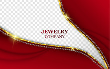 Jewelry Company Vector Banner Template. Realistic Golden And Silver Chains. Creative Red Dress Decolletage Imitation On Transparent Background. Female Accessories Store Poster Design With Text Space