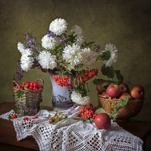 Autumn Still Life With Bouquet Of Asters Flowers