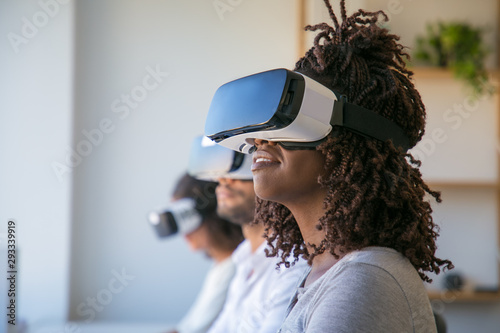 Excited users testing VR game Canvas Print