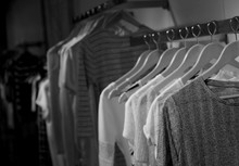 Black And White Artwork Of The Show Room With Regals Full Of Trendy Boys And Girls