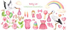 A Set Of Newborn Girl Elements...