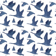Seamless Pattern With Watercolor Realistic A Flock Of Geese Silhouette And National Ornament In Blue Colors