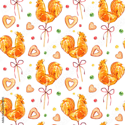 Vászonkép  Seamless festive pattern with watercolor illustrations of candy, cakes and sweets