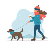 Woman Walking A Dog In Winter. Cute Vector Illustration In Flat Style