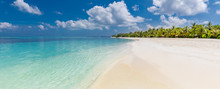 Idyllic Tropical Beach As Panoramic Landscape For Background Or Wallpaper. Design Of Tourism For Summer Vacation Holiday Destination Concept.