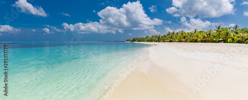 Idyllic tropical beach as panoramic landscape for background or wallpaper Canvas Print