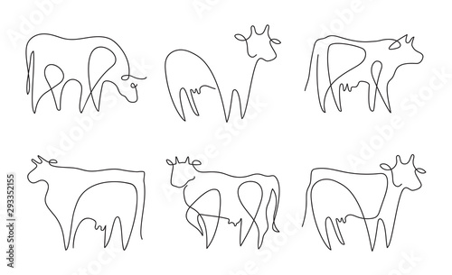 Cuadros en Lienzo Farm animal. Vector graphics in a minimalistic style. Cattle.