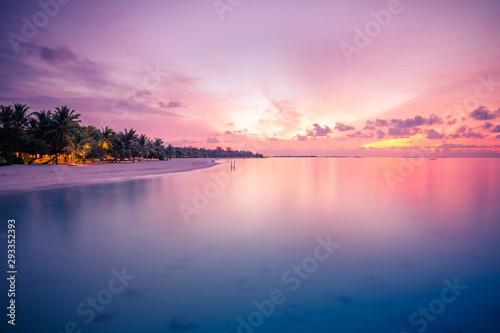 Wall Murals Light pink Landscape of paradise tropical island beach, sunrise shot. Peaceful beach landscape