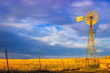 Saline County, KS USA - Aermotor Windmill In The Prairie At Sunset