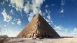 Bottom view of the Pyramid of Cheops, Giza, Cairo, Egypt.