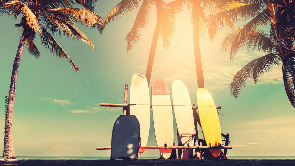 Fototapeta Surfboard and palm tree on beach background.