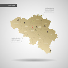 Stylized Vector Belgium Map.  Infographic 3d Gold Map Illustration With Cities, Borders, Capital, Administrative Divisions And Pointer Marks, Shadow; Gradient Background.