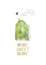 Home Sweet Home Card. Watercolor Illustration Of A House. Isolated On White Background.