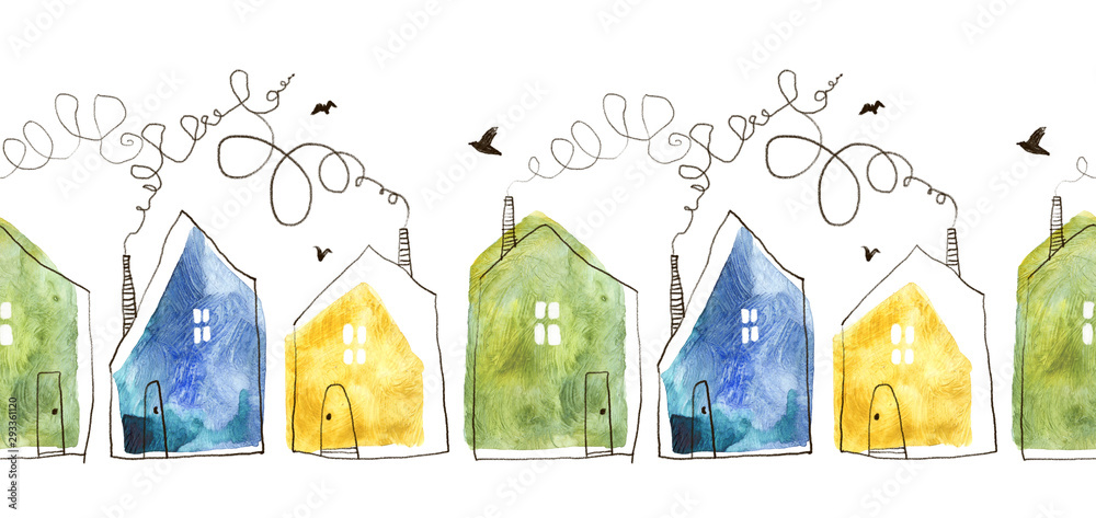 Fototapeta Seamless pattern with hand painted watercolor houses. Isolated on white background.