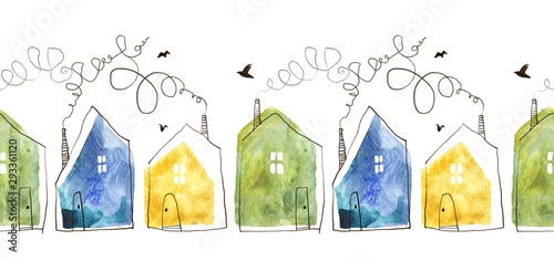 Seamless pattern with hand painted watercolor houses Canvas Print