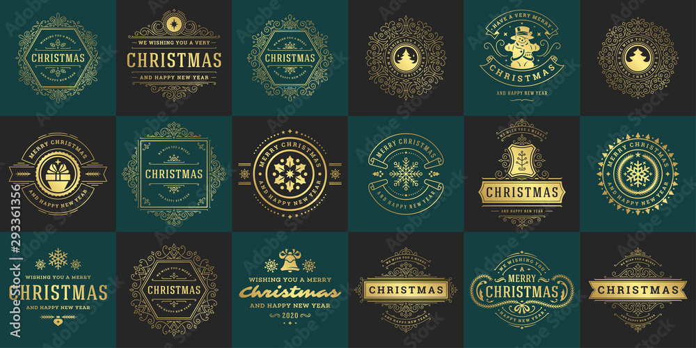 Fototapeta Christmas vector typography ornate labels and badges, happy new year and winter holidays wishes for vector illustration