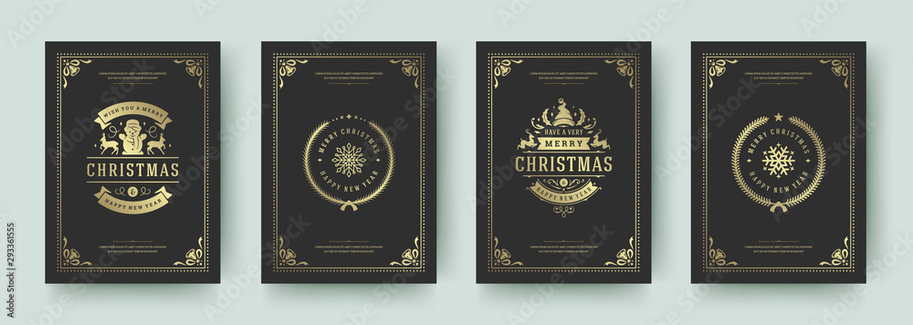 Fototapeta Christmas greeting cards vintage design, ornate decoration symbols and winter holidays wishes vector illustration