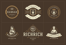 Restaurant Logos Templates Set...