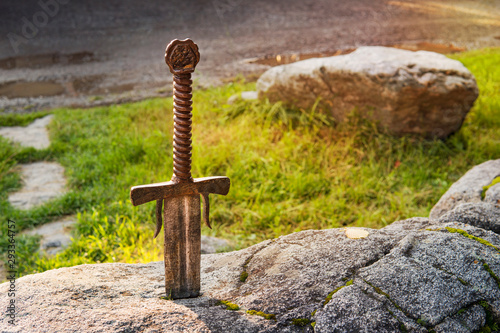 Excalibur, King Arthur's sword in stone Canvas