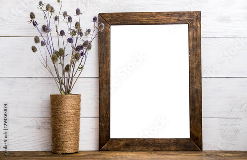 Obraz Wooden picture frame with linen - fototapety do salonu