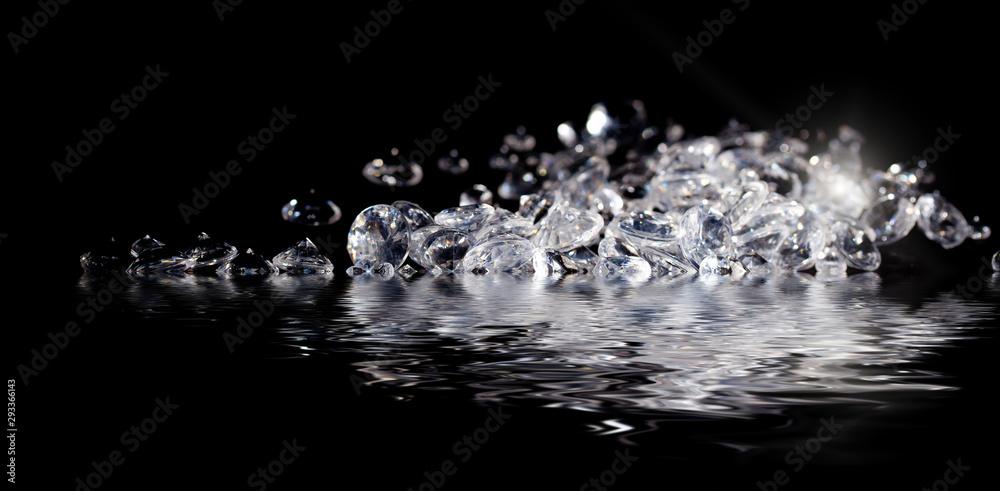Fototapety, obrazy: Diamonds reflecting in water on black