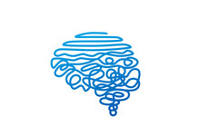 Tangled Blue Wire In Human Brain Shape Vector Illustration