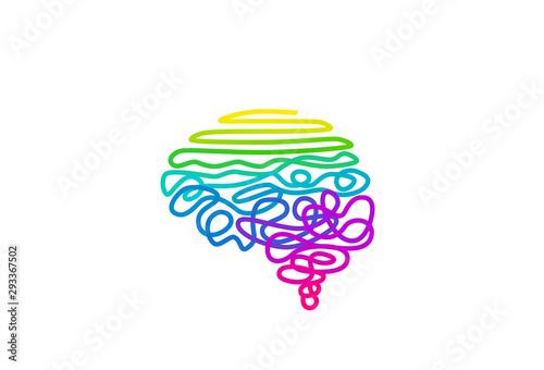Cuadros en Lienzo Tangled rainbow colored wire in brain shape vector illustration