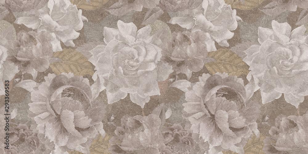 Fototapeta vintage floral seamless backgroun, textile flowers or roses pattern