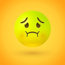 Nauseated Face Emoji With Green Face, Concerned Eyes And Puffed, Red Cheeks, As If Holding Back Vomit. May Represent Physical Illness Or General Disgust.