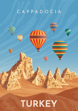 Cappadocia Hot Air Balloon Flight. Travel To Turkey. Retro Poster, Vintage Banner. Hand Drawing Flat Vector Illustration.