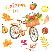 Watercolor Autumn Bicycle Clip...