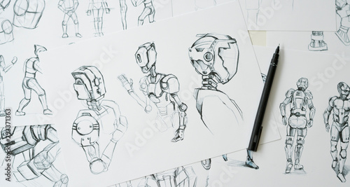 Animator designer Development designing drawing sketching development creating graphic pose characters sci-fi robot Cartoon illustration animation video game film production , animation design studio Fototapet