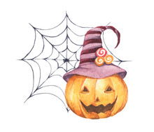 Halloween Pumpkin Wearing Witch Hat With Spider Web. Isolated On White Background, For You Design. Watercolor Illustration. Happy Halloween Day.