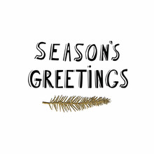 Seasons Greetings Hand Lettering Card With Gold Glitter Texture. Modern Brush Calligraphy, Isolated On White Background. Vector Illustration.