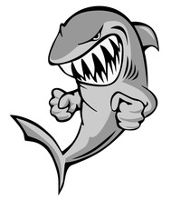 Shark Jumping With Big Grin And Fists Cartoon Isolated Vector Illustration
