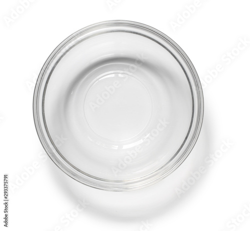 Fotomural Glass bowl top view (with clipping path) isolated on white background