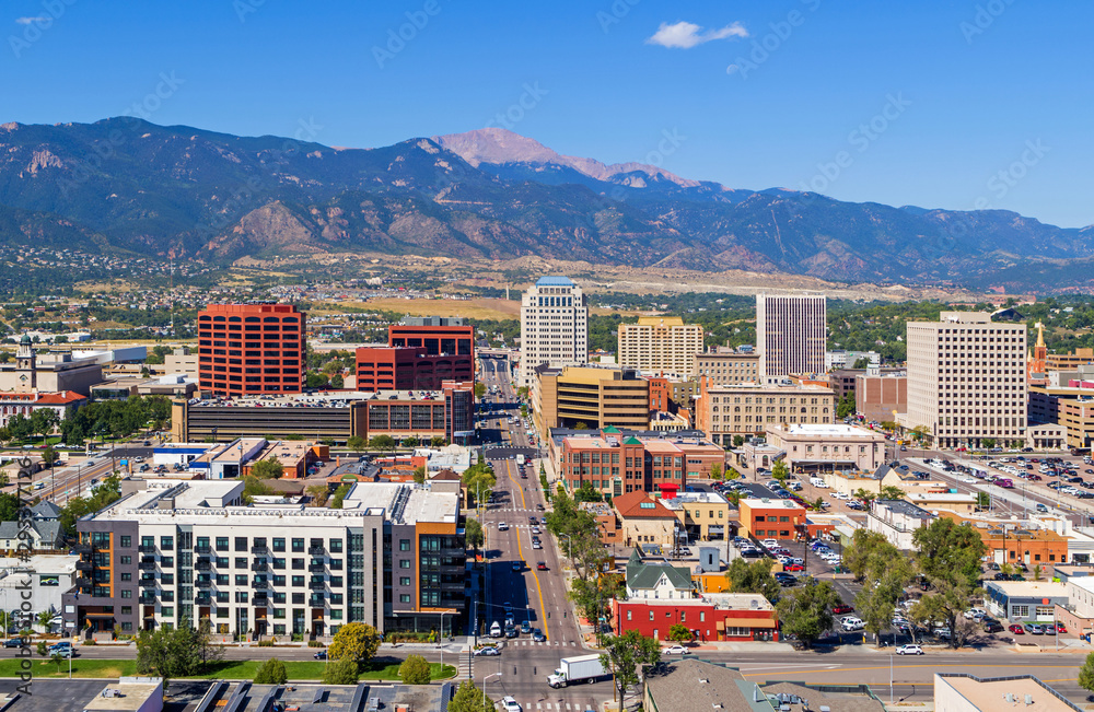 Fototapeta Aerial of downtown Colorado Springs with Pikes Peak in the background