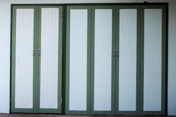 a green classic wooden door.