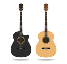 Black And Brown Wooden Guitars Set Isolated On White Background - Vector Illustration