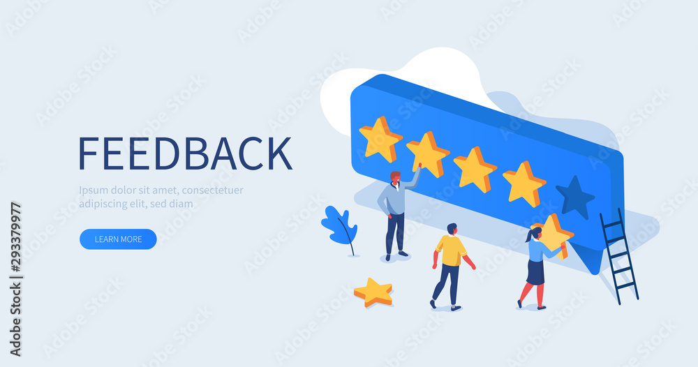 Fototapeta People Characters Giving Five Star Feedback. Clients Choosing Satisfaction Rating and Leaving Positive Review. Customer Service and User Experience Concept. Flat Isometric Vector Illustration.
