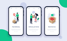 Online Shopping And Delivery Mobile App Pages Template. Courier Carrying Box To Customer. Woman Receiving A Parcel Box From Delivery Man. Flat Isometric Vector Illustration.