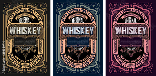 Leinwand Poster  Vintage labels for whiskey or other products.