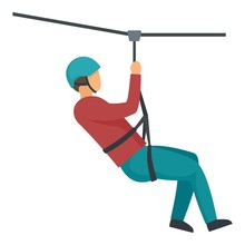 Boy Helmet Zip Line Icon. Flat Illustration Of Boy Helmet Zip Line Vector Icon For Web Design