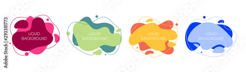 Photo Set of 4 abstract modern graphic liquid elements