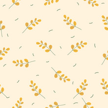 Autumn Or Spring Leaves Seamless Pattern Background With Yellow Leaf - Vector Illustration